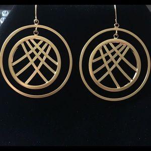 Gold Hoops W/ Round Pattern Earrings